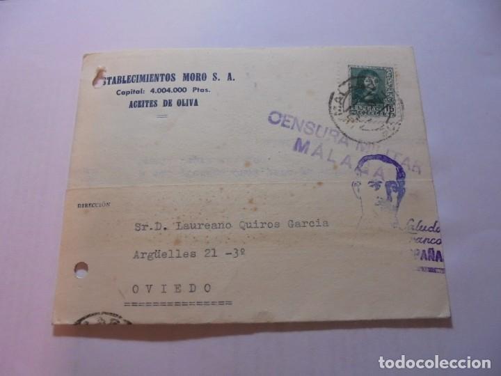 TARJETA POSTAL CIRCULADA CON CENSURA MILITAR MALAGA Y CON SELLO PRO MALAGA DE 5 CTS 1938 (Sellos - España - Guerra Civil - De 1.936 a 1.939 - Cartas)