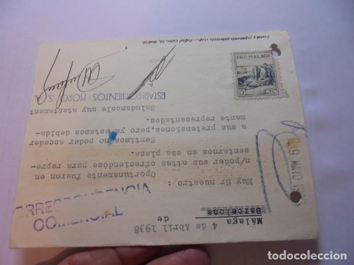 Sellos: TARJETA POSTAL CIRCULADA CON CENSURA MILITAR MALAGA Y CON SELLO PRO MALAGA DE 5 CTS 1938 - Foto 2 - 110203695
