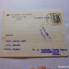Sellos: TARJETA POSTAL CIRCULADA CON CENSURA MILITAR PALENCIA 1938.JOSE MANUEL G.DE LOS RIOS.STA MARIA DE MA. Lote 110203919