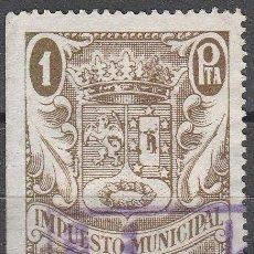 Sellos: AYUNTAMIENTO MADRID. (18-09) SELLO FISCAL. IMPUESTO MUNICIPAL . 1 PESETA. *,MH. Lote 110237131