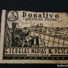 Sellos: DONATIVO ESCUELAS MEDIAS M,PESCA,5 PESETAS. Lote 110487907