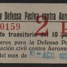 Sellos: ALCOY, 2 PTAS, JUNTA DEFENSA PASIVA CONTRA AERONAVES, VER FOTOS. Lote 110713159