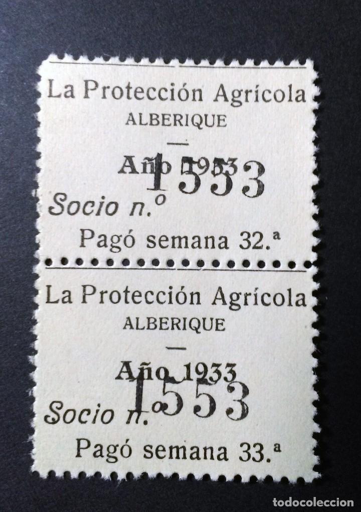 LOTE DE 2 CUPONES DE LA PROTECCIÓN AGRÍCOLA DE ALBERIQUE, VALENCIA. 1933. (Sellos - España - Guerra Civil - Viñetas - Usados)