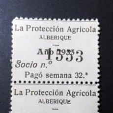 Sellos: LOTE DE 2 CUPONES DE LA PROTECCIÓN AGRÍCOLA DE ALBERIQUE, VALENCIA. 1933.. Lote 110776291
