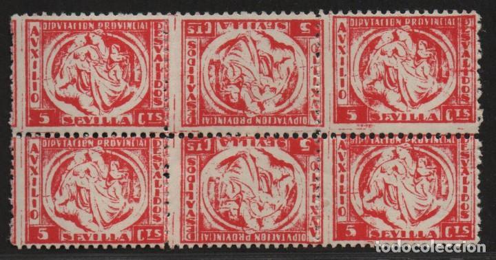 SEVILLA, 5 CTS, 3 PAREJAS, CAPICUAS -AUXILIO DESVALIDOS- ALLEPUZ Nº 25 ,VER FOTO (Sellos - España - Guerra Civil - De 1.936 a 1.939 - Usados)
