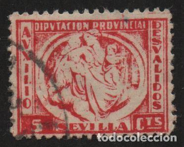 Sellos: SEVILLA, 5 CTS, REVERSO: CALCADO -AUXILIO DESVALIDOS- ALLEPUZ Nº 25 ,VER FOTO - Foto 2 - 110828591