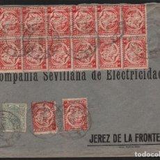 Sellos: CARTA CIRCULADA A JEREZ, CON 6 PAREJAS CAPICUAS, SEVILLANA DE ELECTRICIDAD, VER FOTOS. Lote 110828747