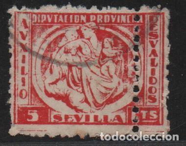 SEVILLA, 5 CTS, DOBLE PERFARACION,-AUXILIO DESVALIDOS- ALLEPUZ Nº 27DV ,VER FOTO (Sellos - España - Guerra Civil - De 1.936 a 1.939 - Usados)