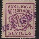 Sellos: SEVILLA, 50 PTAS,VARIEDAD COLOR -AUXILIO A NECESITADOS- ALLEPUZ Nº 76 ,VER FOTO. Lote 110833551
