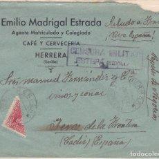 Sellos: CARTA DE HERRARA A JEREZ DE LA FRONTERA, CON SELLO 857 BISECTADO, CENSURA MILITAR ESTEPA E-30-1. Lote 110868827