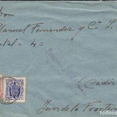 Sellos: CARTA DE ALCALA DE LOS GAZULES A JEREZ, FRANQUEO CON MOVILES Y CENSURA ALCALA A-25-2. Lote 110871283