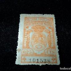 Sellos: TRES SELLOS DIFERENTES VALORES AYUNTAMIENTO DE MADRID IMPUESTO MUNICIPAL 1913- 1916 CON NUMERACION. Lote 110873647