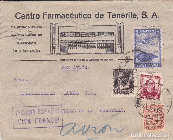 CARTA DE TENERIFE A JEREZ, FRANQUEO 681, 685 CANARIAS 5 Y BENÉFICO, AL DORSO PUBLICIDAD DEL CLIMA. (Sellos - España - Guerra Civil - De 1.936 a 1.939 - Cartas)