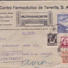 Sellos: CARTA DE TENERIFE A JEREZ, FRANQUEO 681, 685 CANARIAS 5 Y BENÉFICO, AL DORSO PUBLICIDAD DEL CLIMA.. Lote 110874571