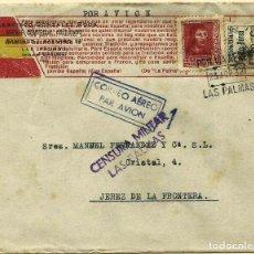 Sellos: CARTA DE LAS PALMAS A JEREZ FRANQUEO 844 Y CANARIAS 45, CENSURA P-12-1A Y TEXTO PATRIOTICO.. Lote 110875055