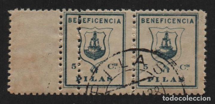 PILAS ,(SEVILLA), 5 CTS, DOBLE DENTADO VERTICAL -BENEFICENCIA- ALLEPUZ Nº 17DDV ,VER FOTO (Sellos - España - Guerra Civil - De 1.936 a 1.939 - Usados)