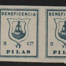 Sellos: PILAS ,(SEVILLA), 5 CTS, PAREJA SIN DENTAR -BENEFICENCIA- ALLEPUZ Nº 10 ,VER FOTO. Lote 111442135