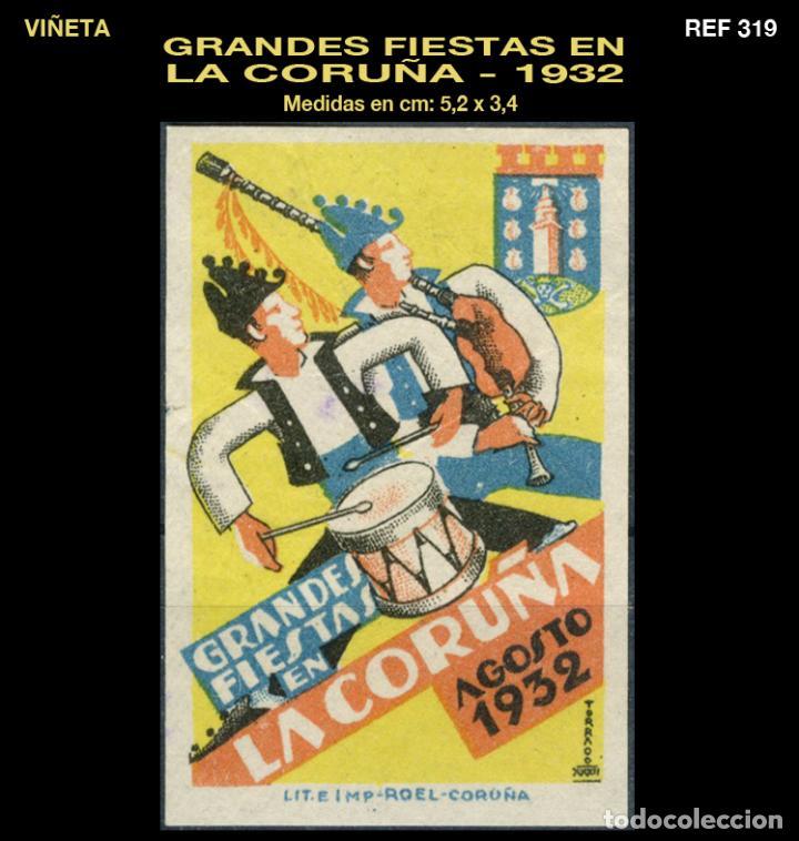 VIÑETA - GRANDES FIESTAS EN LA CORUÑA - 1932 - REF319 (Sellos - España - Guerra Civil - Viñetas - Usados)