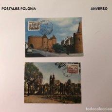 Sellos: SELLOS LCV10(€) 2 POSTALES POLONIA CON SELLO Y MATASELLO(20€). Lote 112069615