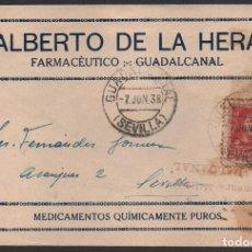 Sellos: CARTA-GUADALCANAL,(SEVILLA), FARMACEUTICO, ALBERTO DE LA HERA-SELLO BENEFICO, C.M. GUADALCANA,VER FO. Lote 112165831