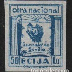 Sellos: ECIJA, (SEVILLA). 50 CTS, SIN DENTAR -OBRA NACIONAL- ALLEPUZ Nº 8S, VER FOTO. Lote 112206139