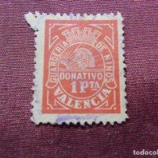 Sellos: VALENCIA. GUARDERÍA DE NIÑOS - 1 PTA ROJO,RARO.. Lote 112781659
