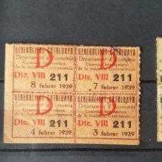 Sellos: GUERRA CIVIL 4 VIÑETA CUPÓN GENERALITAT CATALUNYA DEPARTAMENTO D ECONOMÍA 1939. Lote 112891428