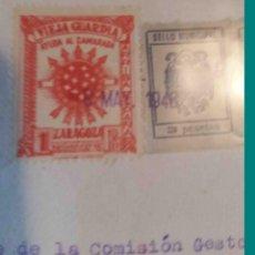 Sellos: VIEJA GUARDIA. AYUDA AL CAMARADA. AYUNTAMIENTO DE MAGALLÓN. ZARAGOZA.1946.. Lote 113024347
