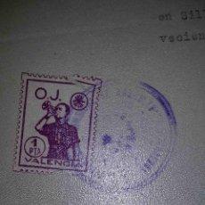Sellos: O.J. VALENCIA. SILLA. VALENCIA. 1940.. Lote 113025191