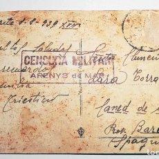 Sellos: POSTAL CON CENSURA MILITAR DE ARENYS DE MAR. Lote 113200427
