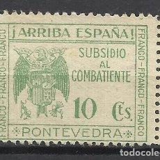 Sellos: 6003-SELLO LOCAL SOBRETASA NACIONAL SUBSIDIO COMBATIENTE PONTEVEDRA FRANCO FRANCO FRANCO 10 CENTIMOS. Lote 113285091