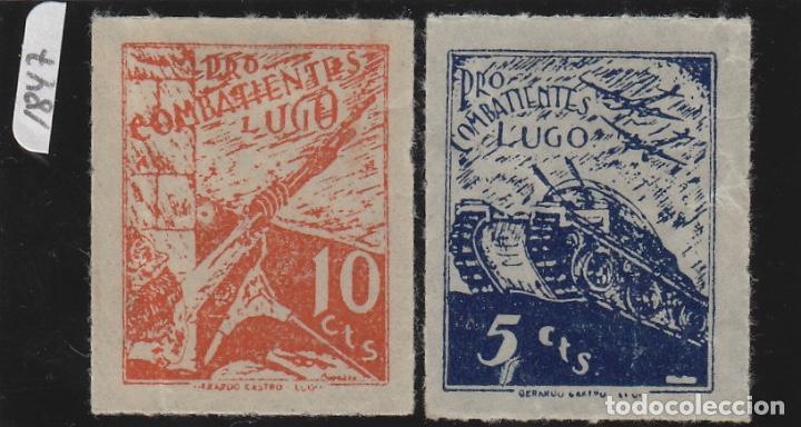 PRO COMBATIENTE LUGO 5 Y 10 CTS. . VIÑETA ,LOCAL GUERRA CIVIL (Sellos - España - Guerra Civil - Viñetas - Usados)
