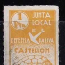 Sellos: JUNTA LOCAL DE DEFENSA PASIVA CASTELLÓN , 1 PTS OCRE , RARA. Lote 114364151