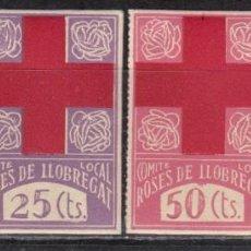 Sellos: COMITÉ LOCAL ROSES DE LLOBREGAT , SERIE COMPLETA 4 VALORES . Lote 114384947