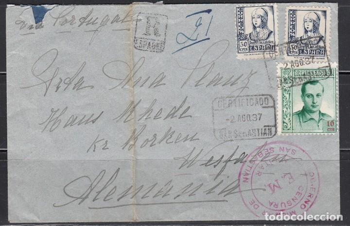 CARTA , SAN SEBASTIAN - ALEMANIA , MARCA CENSURA GOBIERNO MILITAR DE SAN SEBASTIAN , (Sellos - España - Guerra Civil - De 1.936 a 1.939 - Cartas)