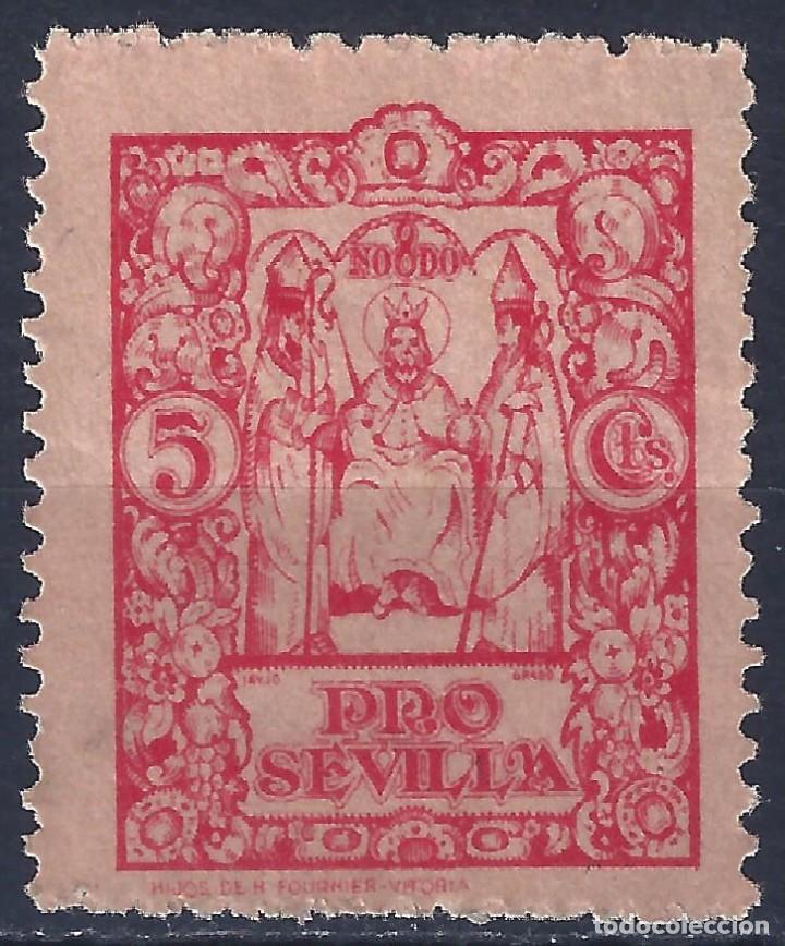 VIÑETA PRO SEVILLA 5 CTS. ROJO. MNG. (Sellos - España - Guerra Civil - Viñetas - Nuevos)