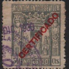 Sellos: SEVILLA, 50 CTS. CERTIFICADO, VER FOTO. Lote 114610231