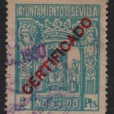 Sellos: SEVILLA, 2 PTS. CERTIFICADO, VER FOTO. Lote 114610287