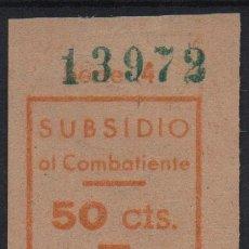 Sellos: BARCELONA, 50 CTS, SUBSIDIO AL COMBATIENTE, NARANJA, VER FOTO. Lote 114965663