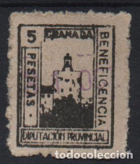 GRANADA, 5 PTAS, BENEFICENCIA, ALLEPUZ Nº 17, VER FOTO (Sellos - España - Guerra Civil - De 1.936 a 1.939 - Usados)