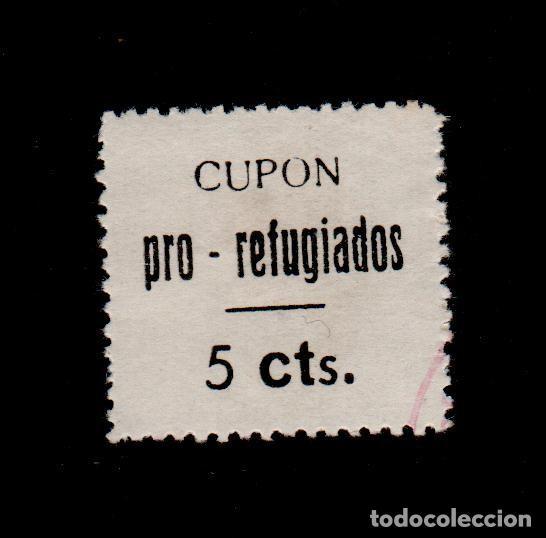CL4-12-16 GUERRA CIVIL VIÑETA DE LORCA (MURCIA) CUPON PRO REFUGIADOS 5 CTS NEGRO S. BLANCO FESOFI (Sellos - España - Guerra Civil - Locales - Nuevos)