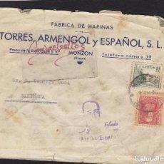 Sellos: CENSURA MONZON ( HUESCA )AÑO 193¿?-CARTA MEMB FABRICA DE HARINAS ,TORRES , ARMENGOL MARCA PATRIÓTICA. Lote 115924791