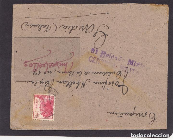 CARTA - CENSURA MILITAR DE LA 81 BRIGADA MIXTA . EJÉRCITO DE LA REPÚBLICA . MUY RARA (Sellos - España - Guerra Civil - De 1.936 a 1.939 - Cartas)