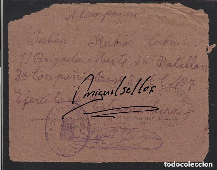 1938 FRANQUICIA AYUNTAMIENTO ALBALADEJO (CIUDAD REAL)- NO HAY SELLOS- 91 BRIGADA MIXTA 361 BATALLON (Sellos - España - Guerra Civil - De 1.936 a 1.939 - Cartas)