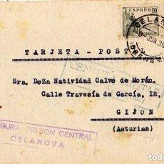 Sellos: CENSURA PRISIÓN CENTRAL CELANOVA. CENSURA MILITAR CELANOVA. ENVIADA A GJIÓN 1 /06/1939NISTRACION. Lote 116160715