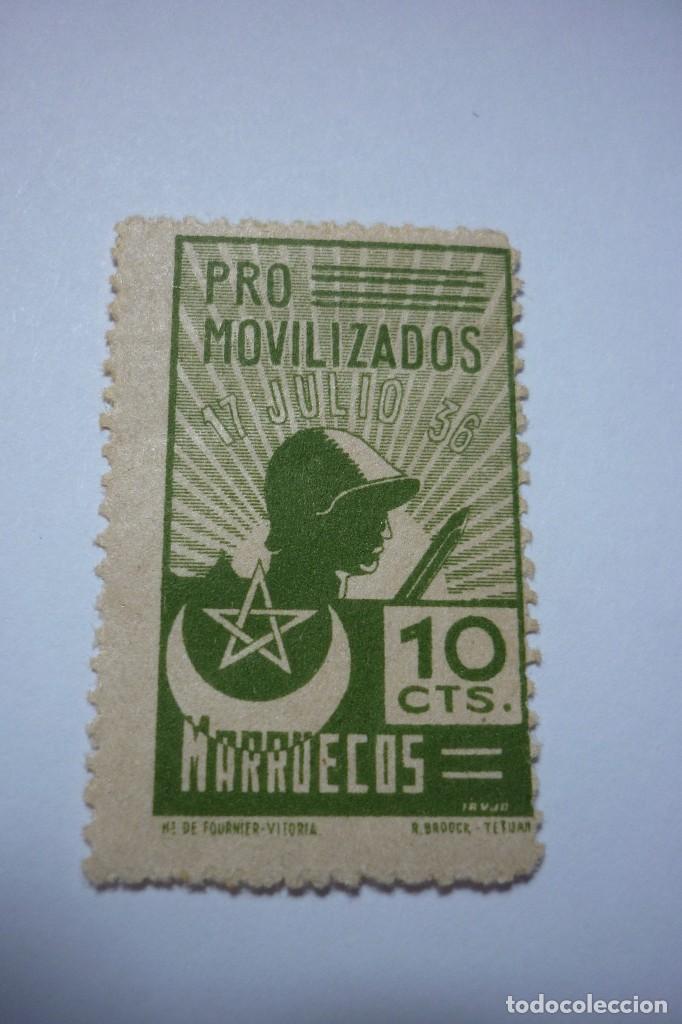 PRO MOVILIZADOS MARRUECOS. 10 CÉNTIMOS NUEVO (Sellos - España - Guerra Civil - Beneficencia)