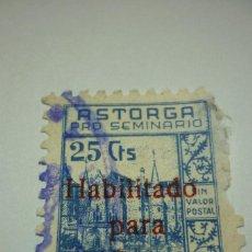 Sellos: ASTORGA PRO SEMINARIO CON SOBRECARGA HABILITADO PARA 1 PESETA. Lote 116240387