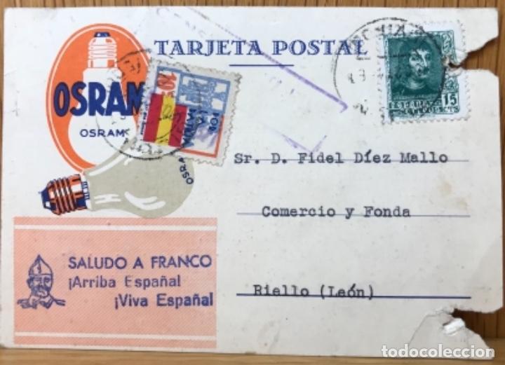 TARJETA POSTAL PATRIÓTICA SALUDO A FRANCO ¡ARRIBA ESPAÑA! - BOMBILLAS 0SRAM - SIEMENS (Sellos - España - Guerra Civil - De 1.936 a 1.939 - Cartas)