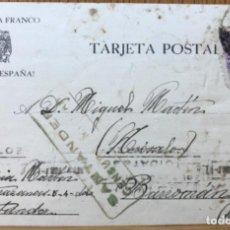 Sellos: TARJETA POSTAL PATRIÓTICA SALUDO A FRANCO - CENSURA MILITAR DE SANTANDER - A BARROMÁN (AVILA). Lote 116292919