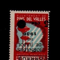 Sellos: G8I GUERRA CIVIL VIÑETAS DE PINS DEL VALLES (BARCELONA) IMPOSTOS MUNICIPALS FESOFI Nº 8I TIPO II (. Lote 116331587